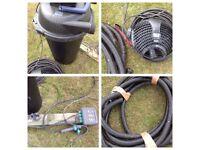 Pond pump, filter cables etc