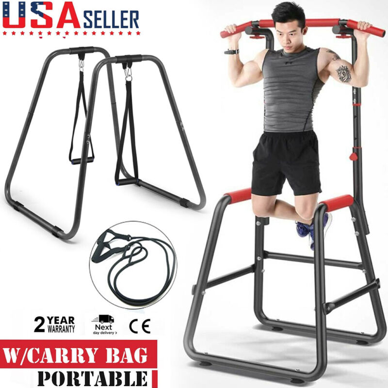 Portable Pull Up Dip Station Gym Bar Power Tower Chin Up Tra