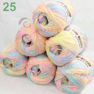LOT of 6 Skeins DK Silk wool cashmere Superwash Yarn Knitting pinkYellowAqua C25