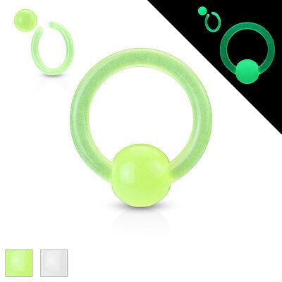 Klemmring Piercing Intim Brust Ring Kugel Captive Bead Rings Glow in the Dark ()