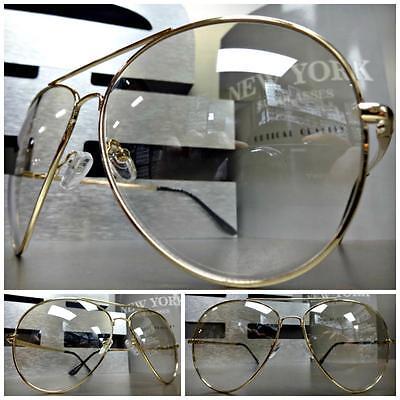Übergröße Vintage Pilotenbrille Stil Sonnenbrille Klar Gläser Leicht Getönt Gold