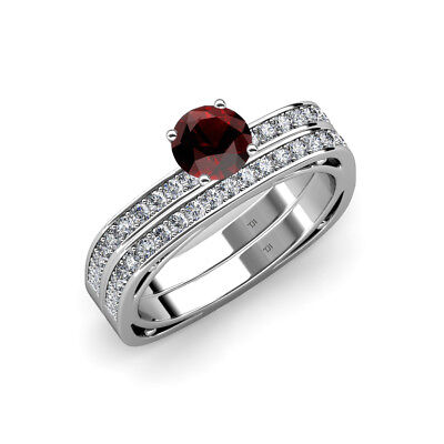 Red Garnet and Diamond Ring & Wedding Band 1.25 ct tw-1.29 ct tw in 14K Gold - Red And Gold Wedding