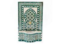 Small Outdoor Fountain, Green Moroccan Garden Mosaic Fountains SIZE: 75 H 47cm L