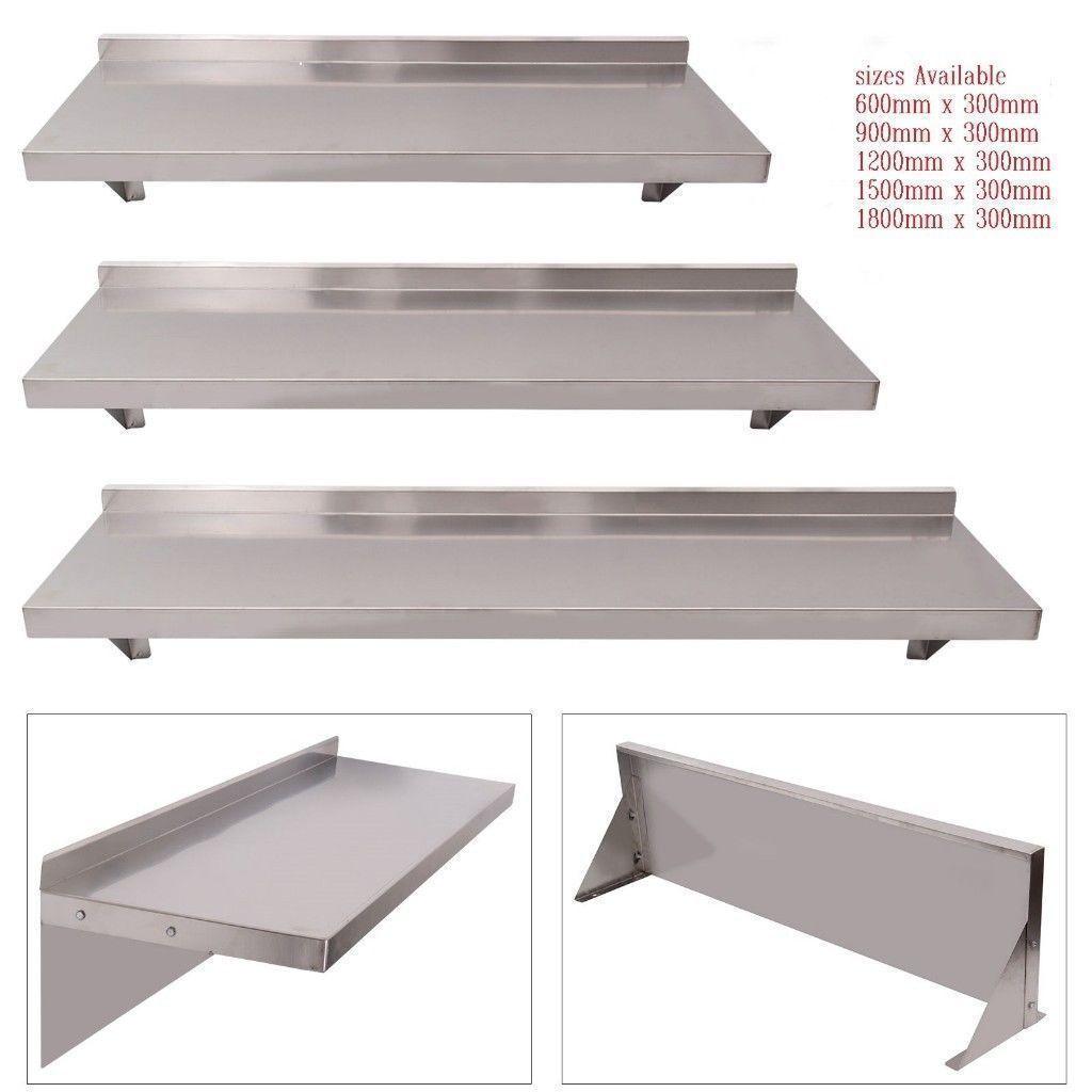 Stainless Steel Wall Shelf Mounted Kitchen Shelves Brackets 1200mm X 300mm