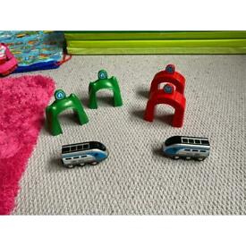 Two sets of Brio smart tech tunnels and trains