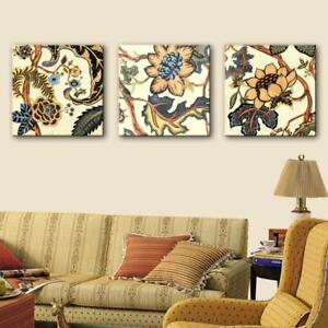 NEW Stretched Canvas Art Retro Pattern Decoration Painting Set Of 3 (50x50cmx3pc)