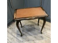 Vintage Leather Topped Side Table with unusual flip top - upcycle project