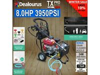 Petrol Pressure Washer - 8.0HP 3950psi AWESOME POWER T-MAX PRO 20 + 8 METER HOSE