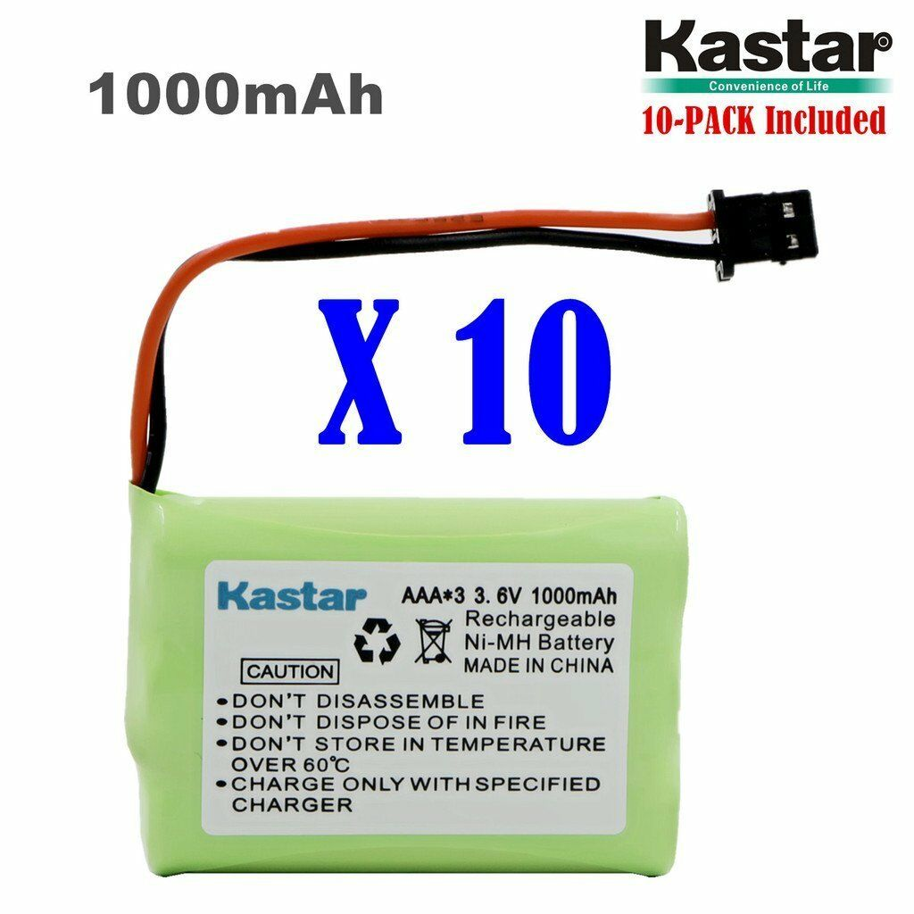 Kastar 10 X 3.6v 1000mah Cordless Phone Battery For Unide...