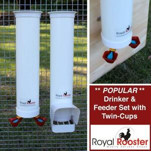 Chicken / Poultry Coop - Waterer / Drinker & Feeder Set -Twin Cups -BRAND NEW - FREE SHIPPING