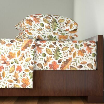 Leaves Watercolour Autumn Leaves With 100% Cotton Sateen Sheet Set by Roostery ()