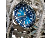 Seiko prospex samurai blue lagoon automatic divers watch