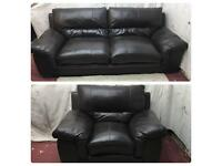 Brown leather 3/1 Seater sofas good condition