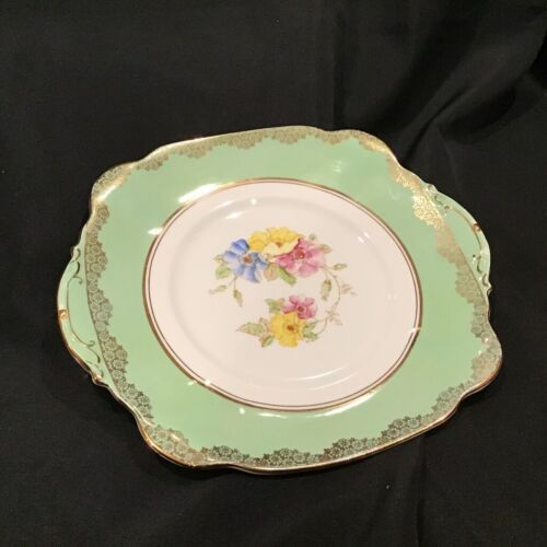 Stunning Royal Standard Fine Bone China Serving Cake Plate Green Gold Trim