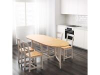 Dining room table (folding) & Chairs (4)