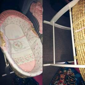 Pink moses basket with rocker