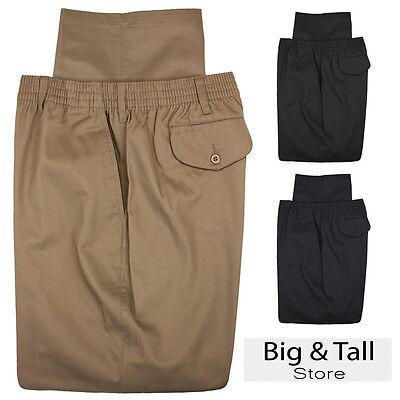 Big   Tall Mens Falcon Bay Casual Twill Pants Full Elastic Waist Sizes 44   70