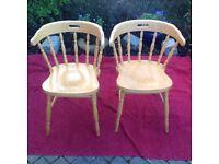 Pair Beech Veneer Varnished Carver Chairs
