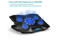 *Brand New* Laptop Notebook 5- Fan Full Cooling Pad Gaming Cooler Stand Adjustable USB