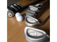 used golf set. 10piecsof ping Eye2 3toL 3piecsGallaway 7.5.11.3 and mors piecs in 20. ball bag