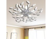 Transparent&White Ceiling Lamp Acrylic Crystal Leaf Arms 5 E14 Bulbs-241476