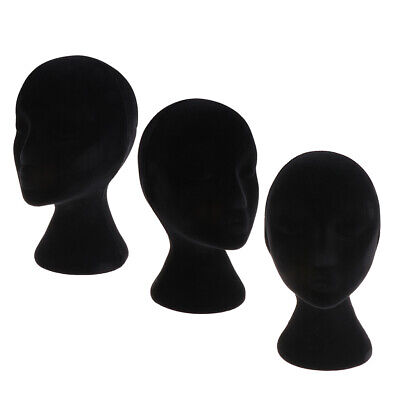 3 Pieces Black Foam Female Mannequin Head Model Wig Glasses Hat Display Stands