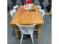 Reclaimed Pine 5.5 Foot Farmhouse Table & 6 Chairs Shabby Chic - UK Delivery