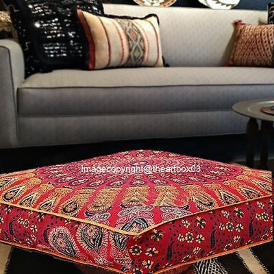 Indian Mandala Large Square Floor Ottoman Pouf Cushion Pillow Cover Pet Dog Bed ()