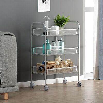 3-Tier Kitchen With Wheels Metal Storage Rack Storage Truck Mesh Wire Basket Car