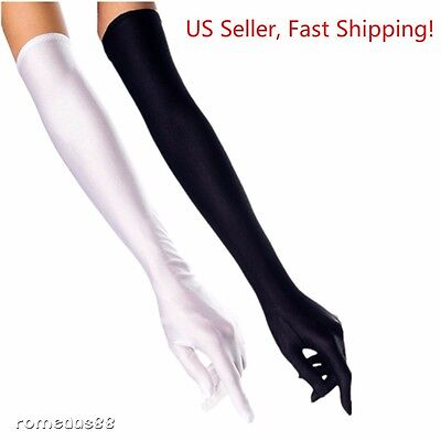 "DH Women's Evening Gloves 22 "" Long White / Black Satin Finger Gloves - 2 Pairs"