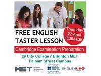 FREE English Language Taster Lesson @Brighton MET: Thursday 27 April, 1.30-2.30pm
