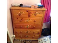 Solid pine wardrobe, bedside cabinets and chest of drawers