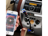 TeckNet Wireless In-Car Bluetooth FM Transmitter with Music Control, Hands-Free Calling USB Charging