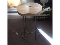 Industrial wood oak steel breakfast bar stool brand new reclaimed