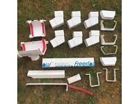 Job Lot Of FREEFLOW White Square Downpipe Guttering Clips And Sockets Bends