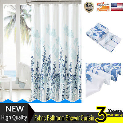 Fabric Mirage Teal Blue White Floral Flowers Fabric Bathroom Shower Curtain NEW