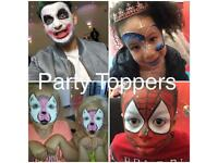 Face Painter, Balloon modeller / painting, Balloon Modelling, Mascots, glitter bar & bubble machine