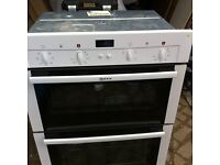 built in electric fan double oven Neff unused white 1 year guarantee