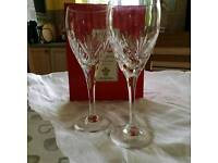 Crystal wine glasses pair brand new