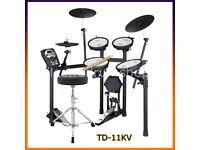 ROLAND V DRUMS TD-11 KV electronic drum kit FULL MESH & 3 zone ride kick pedal stool headphones