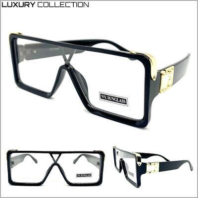 Übergröße Luxus Designer Shield Stil Klarglas Brillen Schwarz & Gold Rahmen