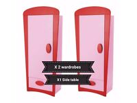 Ikea mammut wardrobe pink X2 and red side table x1 childrens furniture