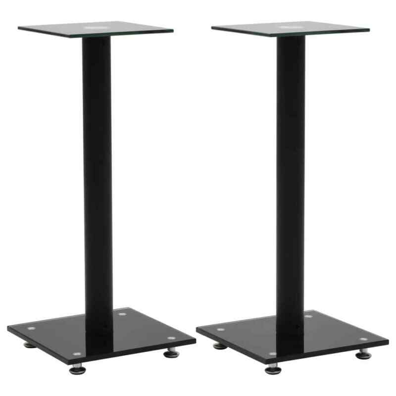 vidaXL 2x Speaker Stands Tempered Glass 1 Pillar Design Black Sound Support