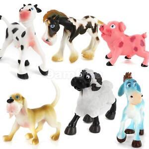 6pc Plastic Action Figure Farm Yard Animals Kids Toy Pig Dog Cow Sheep Horse