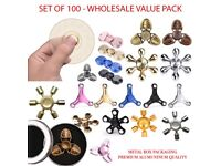 Pack of 100 Fidget Spinner Toys - Wholesale Clearance Price - Mixed Metal Designs with Retail Boxes