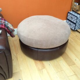 Large fabric & leather pouffe/ foot stool