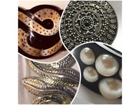 MIMCO Cuffs Bracelets Pearls, Silver, Amber Colour Crystals.