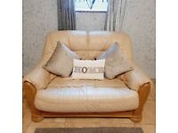 Lovely cream leather and solid wood compact 2 seater sofa very cute modern and stylish