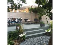 Garden table and chairs, sun lounger and umbrella