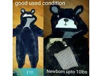 Dark blue newborn upto 10lbs bear snowsuit